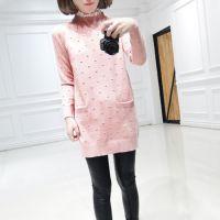 秋装新款毛衣女韩版蕾丝花边领波点修身显瘦长袖针织衫女打底衫长
