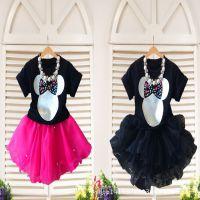 外贸童装厂家直销2015春夏装 欧美女童米妮蓬蓬连衣裙+项链 童裙