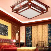 现代中式灯吸顶灯客厅餐厅卧室灯实木仿古羊皮灯具灯饰7003