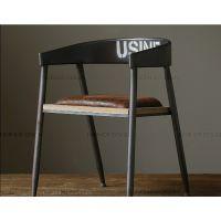 美式乡村复古椅子创意坐垫做旧木板咖啡椅铁艺实木餐桌椅吧台椅子