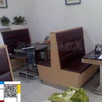 中式茶餐厅卡座沙发定做,板式卡座沙发,餐厅沙发卡座