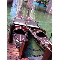 纯手工打造欧式威尼斯水上贡多拉摇橹木船