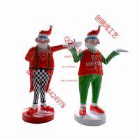 商业活动创意新版圣诞老人玻璃钢卡通人物雕塑