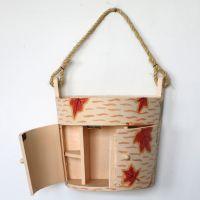 特价库存现货供应田园风格实木手绘收纳盒 家居浴室挂件厂家直销