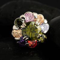 速卖通货源 高品质 A级 女士镶嵌锆石水钻 彩色锆石戒指 太阳花