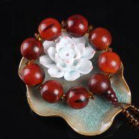 男士款文玩精品西藏牦牛角琥珀血红色水牛角22mm圆珠手串单圈手链