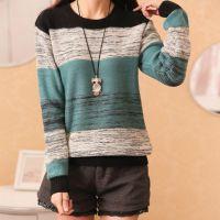 新款2015秋装韩版圆领女士撞色毛衣套头打底衫宽松针织衫上衣