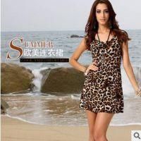 速卖通欧美ebay爆款欧洲站高端女装冰丝中腰无袖豹纹连衣裙夏季