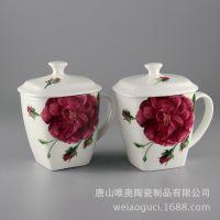 厂家批发骨质瓷大容量马克杯 早晨玫瑰方杯 定制陶瓷礼品水杯