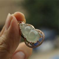 【翡翠媒婆】18k金镶钻葫芦挂件天然A货翡翠缅甸玉石玉器