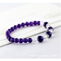 紫水晶手链单圈手串 S925银配饰  纯天然乌拉圭紫水晶手链