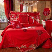 新款全棉贡缎绣花提花四件套多件套纯棉婚庆床品床上用品特价批发
