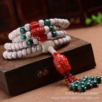 厂家批发星月菩提佛珠手串 正月 干磨 高密 108颗 朱砂孔雀石手链