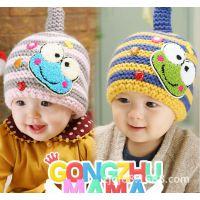 儿童针织帽 秋冬款青蛙造型宝宝包耳条纹保暖帽 小孩毛线帽子批发