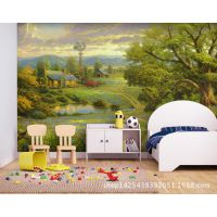 大型壁画 欧洲田园村庄油画风格儿童卧室沙发背景墙咖啡厅壁纸厚