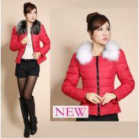 冬装新款韩版超大毛领羽绒服女款 短款外套修身羽绒服加工 批发