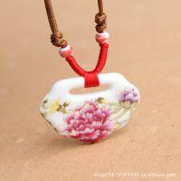 锁骨项链 如意素牡丹景德镇陶瓷项链瓷片批发民族风饰品