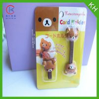 可爱轻松熊 PVC耳机绕线器 卡通动物软胶手机线集线器 硅胶缠绕器