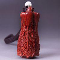 隆兴佛珠 精品小叶紫檀木雕 木质手把件工艺品 白菜挂件 创意礼品