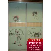 衣柜移门定制 强化艺术玻璃移门 安稳固实 壁柜滑门 铝合金推拉门