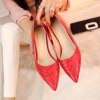 女鞋批发 2015年春新款浅口尖头鞋 红色细跟高跟鞋 压花牛皮单鞋