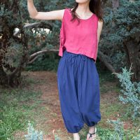 民族风复古夏季原创布衣 藏青灯笼裤 棉麻长裤 女装 一件代发