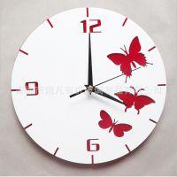 2014新款有机玻璃亚克力挂钟蝴蝶图案客厅挂钟 静音机芯钟表