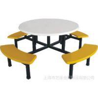 供应批发快餐桌椅肯德基食堂连体8人半月板圆桌餐桌椅快餐餐厅餐桌椅