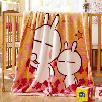 汉哲股份一花一叶拉舍尔双层春季薄款婴儿毛毯儿童云毯宝宝盖毯