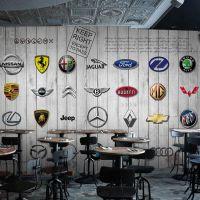 景灿大型3D整张时尚木纹车牌标志无缝壁画 定制无纺布壁纸 主题餐咖啡厅KTV背景墙纸