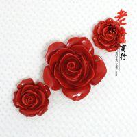 老颜水晶 DIY开光纯天然红朱砂 玫瑰花项链 挂件毛衣链散珠批