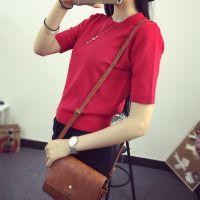 实拍韩国东大门新品短袖纯色高腰短款套头针织衫女装修身T恤上衣