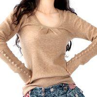 春秋冬女装新款低圆领套头羊绒衫扣袖打底衫针织羊毛衫短款毛衣批