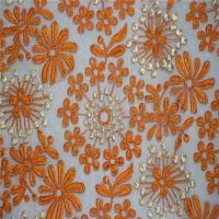 供应亿方帛欧根纱刺绣面料 网布刺绣面料 服装蕾丝花边面料