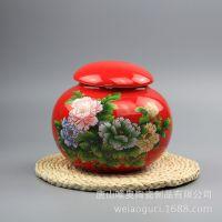 高档陶瓷家居摆件 骨质瓷红釉储物罐 定制高档创意陶瓷摆件加logo