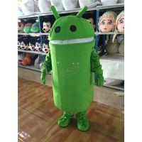 绿和卡通卡通服装行走人偶手机动漫人物安卓机器人公仔玩偶