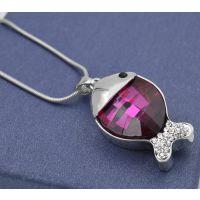 女式水晶项链锁骨链鱼儿吊坠韩国百搭饰品挂件 一件代发免费代理