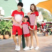 2015新款夏装亲子装全家装厂家批发 韩版条纹亲子短袖T恤短裤套装