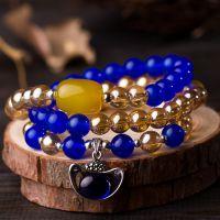饰品批发 纯天然蓝水晶 黄玛瑙多层串珠手链 招财运手串 925银 女