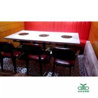 运达来供应人造石火锅桌 西餐厅茶餐厅大理石火锅餐桌椅组合 专业餐饮家具定制