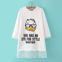 2015春装新款韩版百搭中长款卡通唐老鸭图案字母卫衣女打底衫T恤