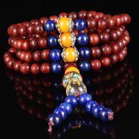 厂家供应印度小叶紫檀108多圈佛珠手串铜珠藏式六字真言木质手链