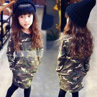 新款童装2015春款韩版女童迷彩中长款上衣 儿童B字五角星打底衫