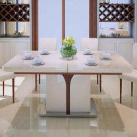 精品促销 中式酒店时尚火锅桌子 米白色桌面餐台 大型钢艺脚架火锅台