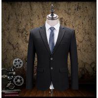 2017新款精品男式西服 职业装工装 二粒扣黑色西装工作服套装定制