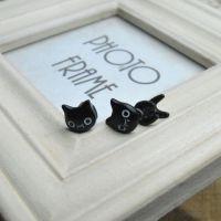 韩国热卖 ROWKY原宿立体动物可爱小猫咪穿刺耳钉男女款耳饰混批