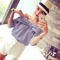 小银子2015夏装新款减龄俏皮蝴蝶结装饰一字领棉质上衣厂家直销B