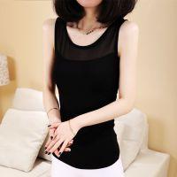 春夏新款 韩版时尚莫代尔蕾丝拼接网纱背心打底衫 厂家直销
