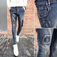 原创设计男士牛仔裤复古水洗补丁修身百搭潮流款男牛仔裤男式