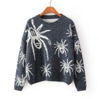 2014欧美风冬季新款蜘蛛图案茧形针织衫淘宝免费代理一件代发货